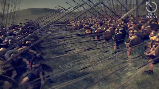 Rome 2 phalanx warfare. Two groups of soldiers do battle in phalanx formation