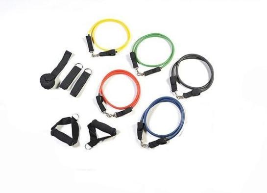 A selection of resistance bands, a type of fitness equipment
