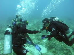 Deep sea divers shake hands underwater